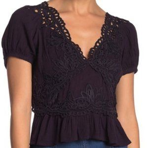 SzXL-FREE PEOPLE Sweet Roses  Lace Peplum Blouse